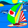 Sail with Dolphins: Yatch Coloring